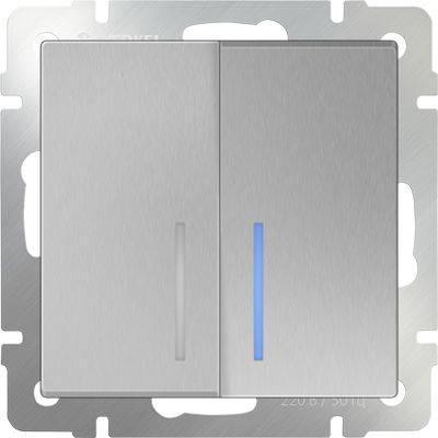 Фото - Выключатель двухклавишный проходной с подсветкой серебряный WL06-SW-2G-2W-LED 4690389053887 выключатель двухклавишный проходной с подсветкой серебряный wl06 sw 2g 2w led 4690389053887