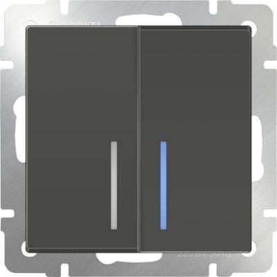 Выключатель двухклавишный проходной с подсветкой серо-коричневый WL07-SW-2G-2W-LED 4690389054044