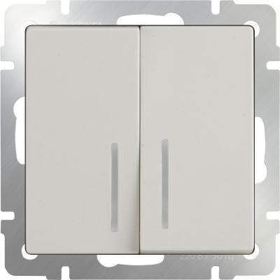 Выключатель двухклавишный проходной с подсветкой слоновая костьWL03-SW-2G-2W-LED-ivory 4690389059278 выключатель двухклавишный проходной слоновая кость wl03 sw 2g 2w ivory 4690389046179