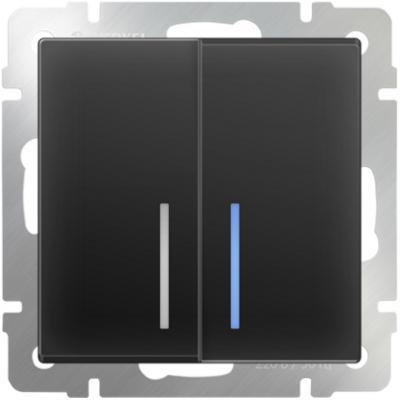 Выключатель двухклавишный проходной с подсветкой черный матовый WL08-SW-2G-2W-LED 4690389054204 выключатель двухклавишный с подсветкой черный матовый wl08 sw 2g led 4690389054198