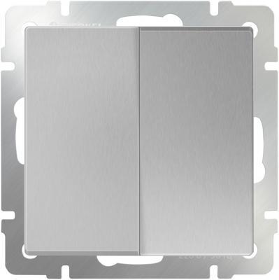 Выключатель двухклавишный проходной серебряный WL06-SW-2G-2W 4690389053849 werkel выключатель двухклавишный с подсветкой wl08 sw 2g led