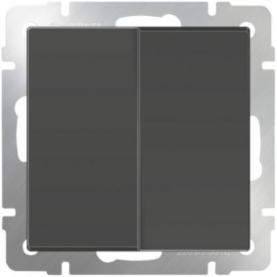 Выключатель двухклавишный проходной серо-коричневый WL07-SW-2G-2W 4690389054006 выключатель двухклавишный наружный бежевый 10а quteo