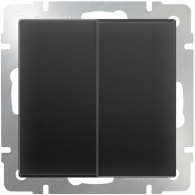 Выключатель двухклавишный проходной черный матовый WL08-SW-2G-2W 4690389054167