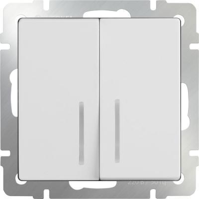 Выключатель двухклавишный с подсветкой белый WL01-SW-2G-LED 4690389059193