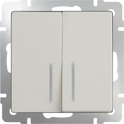 Выключатель двухклавишный с подсветкой слоновая кость WL03-SW-2G-LED-ivory 4690389059285