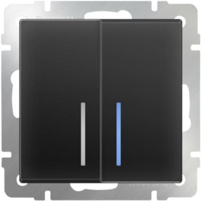 Выключатель двухклавишный с подсветкой черный матовый WL08-SW-2G-LED 4690389054198