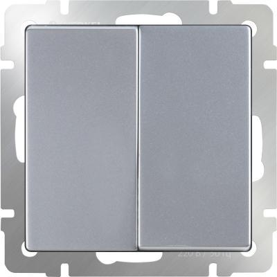 Выключатель двухклавишный серебряный WL06-SW-2G 4690389053832