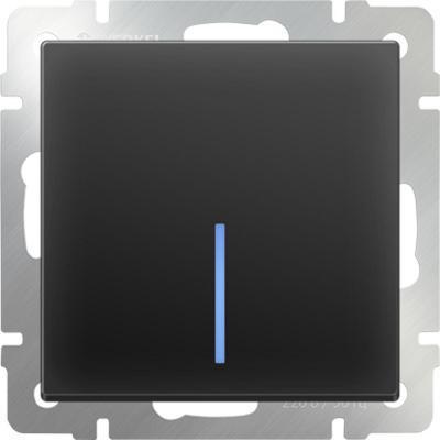 Выключатель одноклавишный проходной с подсветкой черный матовый WL08-SW-1G-2W-LED 4690389054181