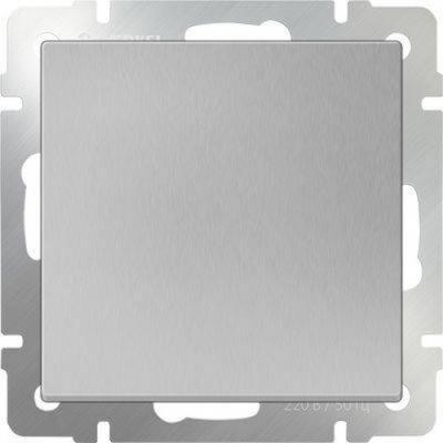 Выключатель одноклавишный проходной серебряный WL06-SW-1G-2W 4690389053825