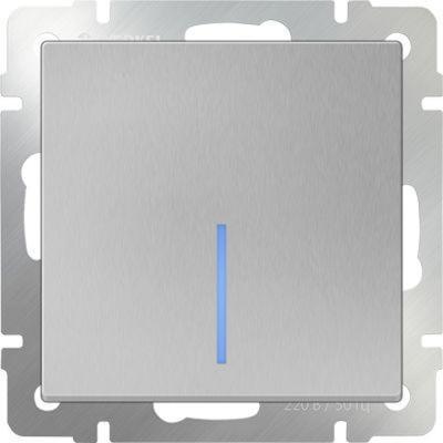 Выключатель одноклавишный с подсветкой серебряный WL06-SW-1G-LED 4690389053856