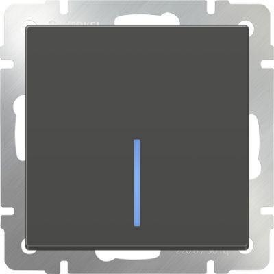 Выключатель одноклавишный с подсветкой серо-коричневый WL07-SW-1G-LED 4690389054013 werkel выключатель двухклавишный с подсветкой wl08 sw 2g led