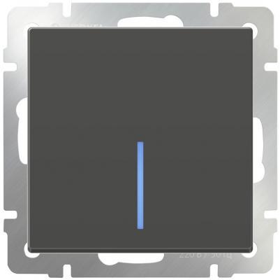 Выключатель одноклавишный с подсветкой черный матовый WL08-SW-1G-LED 4690389054174 werkel выключатель одноклавишный черный матовый wl08 sw 1g 4690389054136