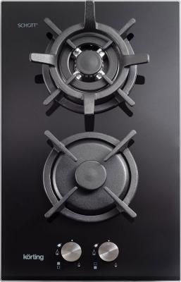 Crystal, 30 x 51 см, газовая, стеклокерамика, 2 конфорки, электроподжиг, газ-контроль, чугунные решетки, в комплекте - подставка WOK и адаптер для кофейника, черная