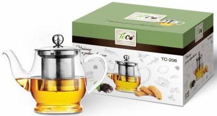 Чайник заварочный Teco 206-TC прозрачный 0.45 л стекло заварочный чайник 1 0 л teco tc 202