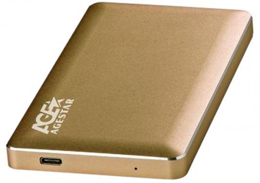 "Внешний контейнер для HDD 2.5"" SATA AgeStar 31UB2A16C USB3.1 алюминий золотистый"