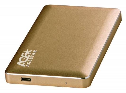 Внешний контейнер для HDD 2.5 SATA AgeStar 3UB2A16C USB3.0 type-C алюминий золотистый внешний контейнер для hdd 2 5 sata agestar sub2a7 usb 2 0 алюминий