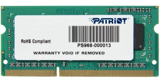 Оперативная память для ноутбуков SO-DDR3 4Gb PC12800 1600MHz Patriot PSD34G1600L82S