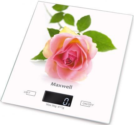 Весы кухонные Maxwell 1476-MW(W) белый рисунок весы кухонные maxwell mw 1473 b голубой рисунок
