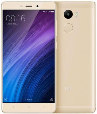 Смартфон Xiaomi Redmi 4 золотистый 5 16 Гб Wi-Fi 3G LTE GPS смартфон zte blade v8 золотистый 5 2 32 гб lte wi fi gps 3g bladev8gold