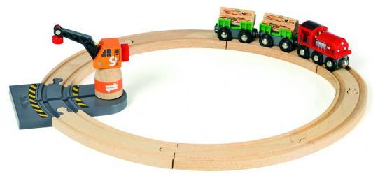 Подарочный набор Brio ж/д с подъемным краном и товарным поездом,15 дет.,кор. игровые наборы brio набор порт с сухогрузом и краном 4 элемента