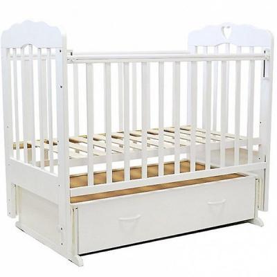 Купить Кроватка с маятником Топотушки Виолетта-6 (арт. 15/белый с сердечком), береза, Кроватки с маятником