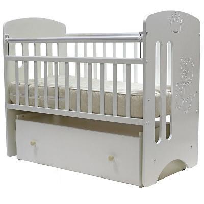 Купить Кроватка с маятником Топотушки Каролина (арт. 40/белый), массив берёзы/ МДФ, Кроватки с маятником