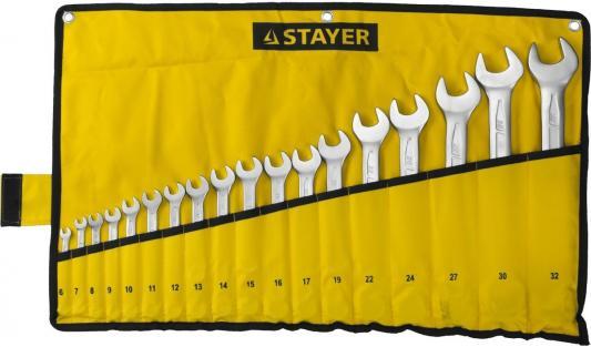 Набор ключей Stayer Profi 18шт 27081-H18  набор гаечных комбинированных ключей 6 32мм 18шт stayer profi 27081 h18