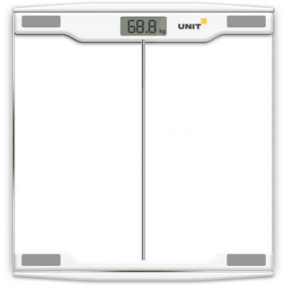 Весы напольные электронные UNIT UBS-2054, стекло, прозрачные, 150кг. 100гр. (Цвет: Светло-Серый)