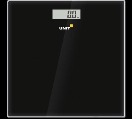Весы напольные электронные UNIT UBS-2052, стекло, без рисунка, 150кг. 100гр. (Цвет: Чёрный)