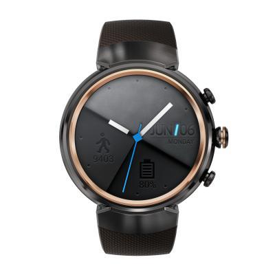 Смарт-часы ASUS ZenWatch 3 WI503Q серый с коричневым резиновым ремешком