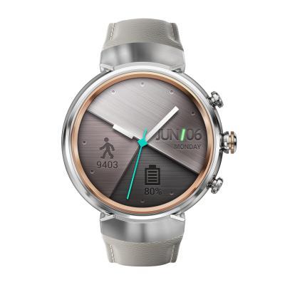 Смарт-часы ASUS ZenWatch 3 WI503Q серебристый с бежевым кожаным ремешком