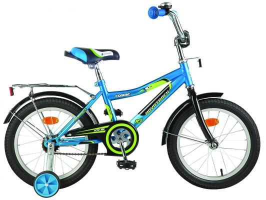 "Велосипед Novatrack ""Cosmic"" 16"" синий тормоз нож, крылья, багажник хром."