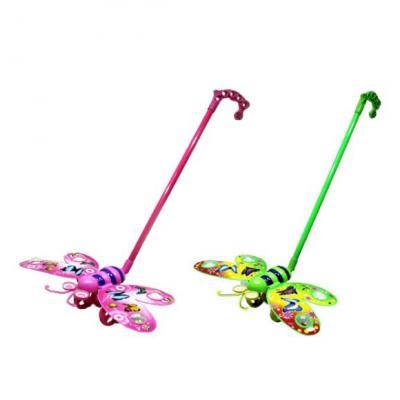 Каталка на палочке Shantou Gepai Бабочка машет крыльями пластик от 3 лет на колесах цвет в ассортименте 96001