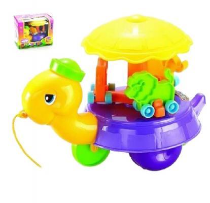 Каталка на шнурке Shantou Gepai Черепаха-карусель пластик от 3 лет на колесах разноцветный  228A shantou gepai черепаха 9993