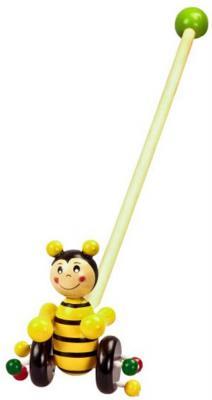 """Каталка на палочке Mapacha """"Пчелка"""" дерево от 1 года на колесах желтый  76520"""