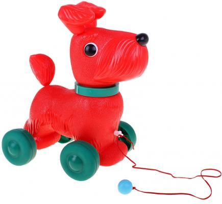 Купить Каталка на шнурке Огонек Тобик С-1352 красный от 1 года пластик, унисекс, Каталки на палочке / на шнурке