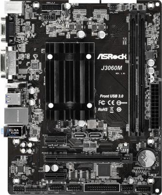 Мат. плата для ПК ASRock J3060M с процессором Intel 2xDDR3 1xPCI-E 16x 2xPCI-E 1x 2xSATAIII mATX Retail