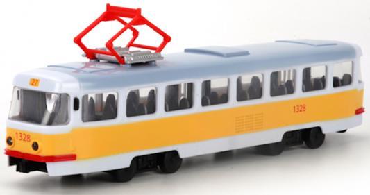 цена на Интерактивная игрушка Shantou Gepai Трамвай Городской от 3 лет оранжевый 1:54, свет, звук, откр.двери