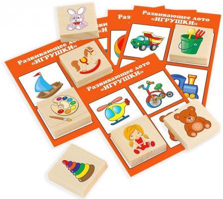 Настольная игра Русские деревянные игрушки лото 24 деревянных фишки + 6 карточек Д535а