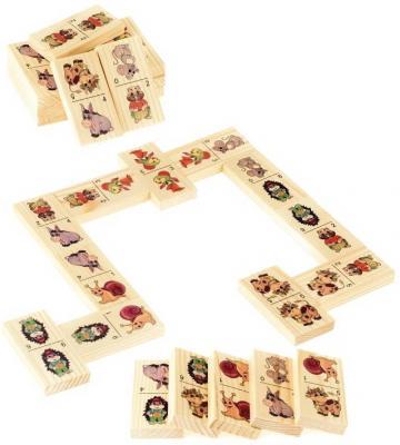 Настольная игра Русские деревянные игрушки домино Животные-2