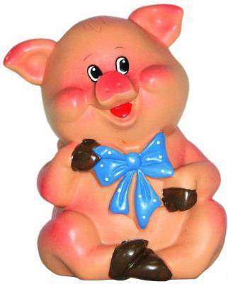Купить Резиновая игрушка для ванны ВЕСНА Поросенок с бантиком 11 см В2329, оранжевый, Игрушки для купания
