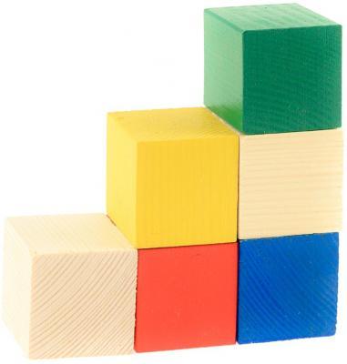 Кубики Русские деревянные игрушки цветные от 1 года 6 шт Д154б