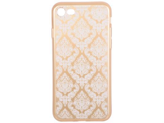 Силиконовый чехол для iPhone 7 TPU Цветочный узор (золотой/прозрачный) 0L-00029603