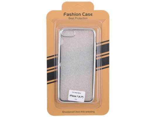 Силиконовый чехол для iPhone 7 (прозрачный с серебряной хром рамкой) 0L-00029778