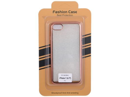 Силиконовый чехол для iPhone 7 (прозрачный с розовой хром рамкой) 0L-00029780