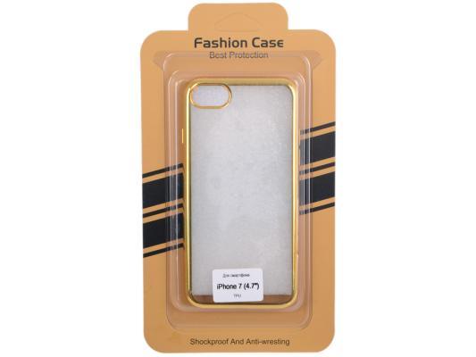 Силиконовый чехол для iPhone 7 (прозрачный с золотой хром рамкой) 0L-00029779