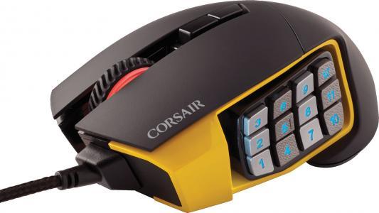 Мышь проводная Corsair Gaming Scimitar PRO RGB CH-9304011-EU чёрный жёлтый USB