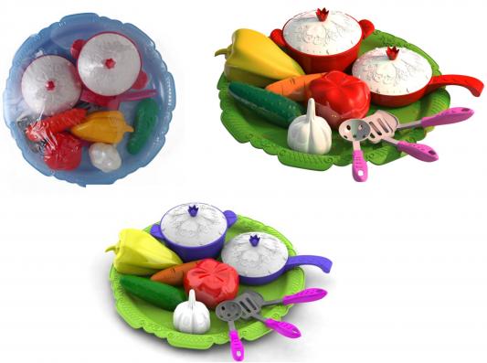 """Набор овощей и посуды Нордпласт """"Волшебная Хозяюшка"""" 624 нордпласт игрушечный набор посуды кухонный сервиз волшебная хозяюшка цвет голубой зеленый"""