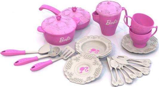 Подробнее о Набор посуды Нордпласт Барби, 21 предмет в сетке Н-639 нордпласт набор кухонной и чайной посудки барби 21 предмет нордпласт