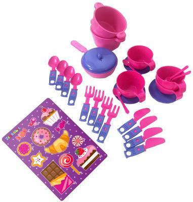Купить Набор посуды ZebraToys Чайный 15-10037-1, розово-фиолетовый, Игрушечная посуда
